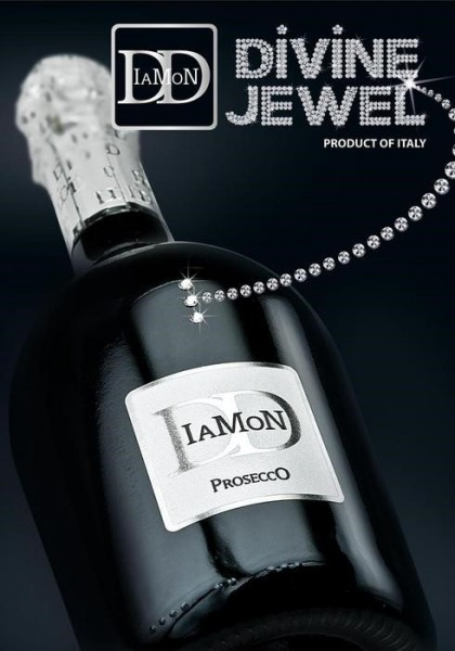 Prosecco Diamond mit echten Swarovsky Steinen 75 cl