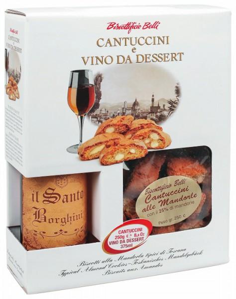 Cantuccini alla Mandorla 25%, 250 g mit Vin Santo, 0.375 lt
