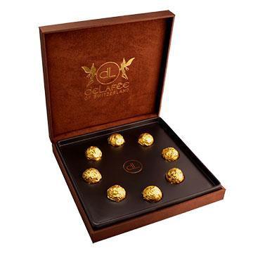 Schokoladen Pralinen 8 Stk mit essbarem Gold
