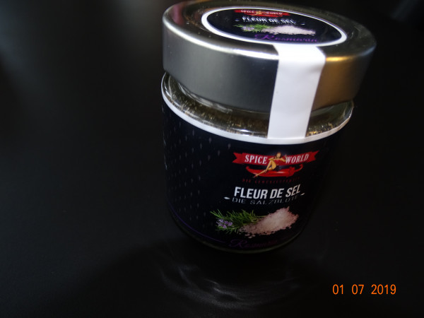 Fleur de Sel / Flor de Sal - Rosmarin , Glas 80g